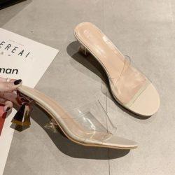 JSH2280-beige Sandal Heels Blok Wanita Cantik 6CM