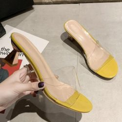 JSH2280-yellow Sandal Heels Blok Wanita Cantik 6CM