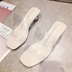 JSH300-beige Sandal Low Heels Casual Wanita Elegan Import 4CM