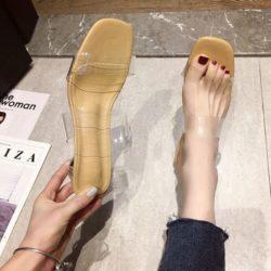 JSH300-khaki Sandal Low Heels Casual Wanita Elegan Import 4CM