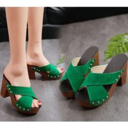 JSH3033-green Sandal High Heels Wanita Modis Import Terbaru 10cm