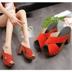 JSH3033-orange Sandal High Heels Wanita Modis Import Terbaru 10cm