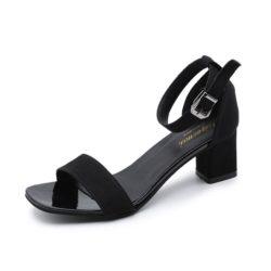 JSH318-black Sepatu Heels Block Suede Wanita Cantik Import 7CM