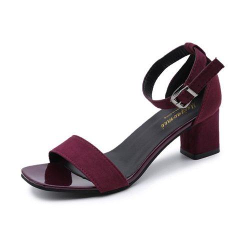 JSH318-wine Sepatu Heels Block Suede Wanita Cantik Import 7CM