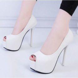JSH360-white Sepatu High Heels Pump Wanita Elegan Stylish 16cm