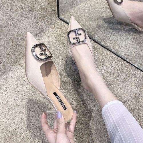 JSH4082-beige Sepatu Heels Wanita Cantik Import Terbaru 6.5CM