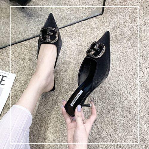 JSH4082-black Sepatu Heels Wanita Cantik Import Terbaru 6.5CM