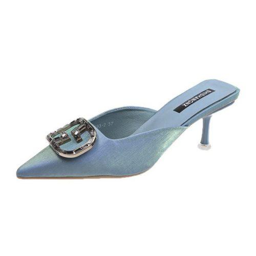 JSH4082-blue Sepatu Heels Wanita Cantik Import Terbaru 6.5CM
