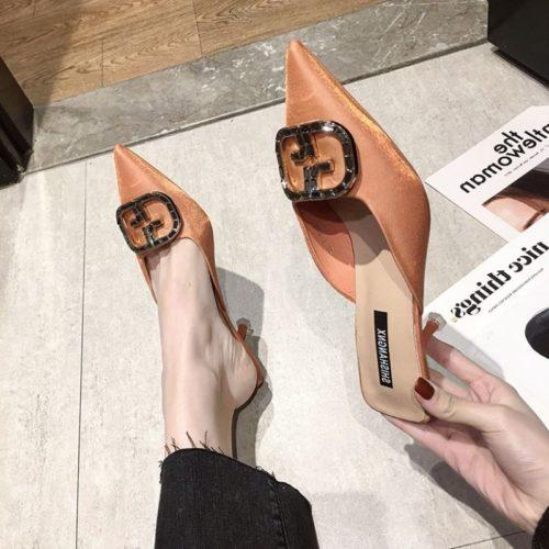 JSH4082-brown Sepatu Heels Wanita Cantik Import Terbaru 6.5CM