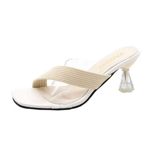 JSH411A-beige Sepatu Heels Casual Wanita Cantik Import 6CM