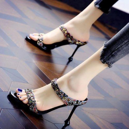 JSH501-black Sepatu Heels Fashion Import Wanita 8CM
