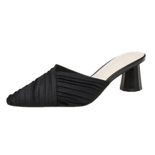 JSH5025-black Sepatu Heels Block Import Wanita Elegan 5CM