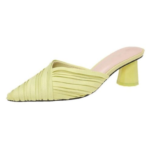JSH5025-green Sepatu Heels Block Import Wanita Elegan 5CM