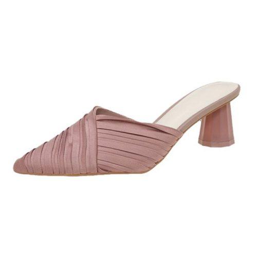 JSH5025-pink Sepatu Heels Block Import Wanita Elegan 5CM