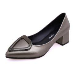 JSH5278-bronze Sepatu Heels Blok Wanita Cantik Import 5CM