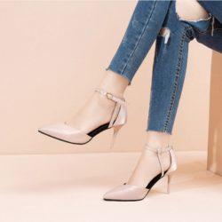 JSH528-pink Sepatu Heels Wanita Cantik Elegan 8.5CM