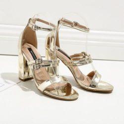 JSH59417-gold Sepatu High Heels Pesta Wanita Elegan 9CM