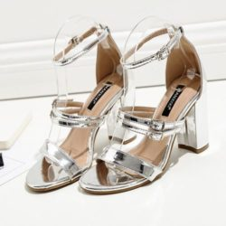 JSH59417-silver Sepatu High Heels Pesta Wanita Elegan 9CM