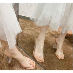 JSH600-apricot Sepatu Heels Transparan Import 7CM