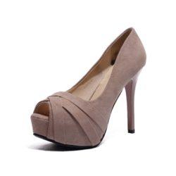 JSH6089-pink Sepatu High Heels Pump Open Toes Wanita 12CM