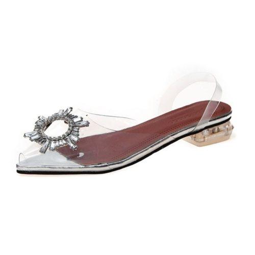 JSH6161-silver Sandal Low Heels Pesta Wanita Elegan 3CM