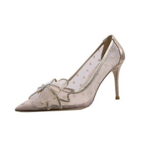 JSH618-beige Sepatu Heels Pesta Wanita Elegan Import 8.5CM