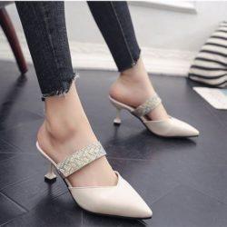JSH661-beige Sepatu Heels Pesta Elegan Wanita 7CM