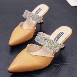 JSH661-yellow Sepatu Heels Pesta Elegan Wanita 7CM