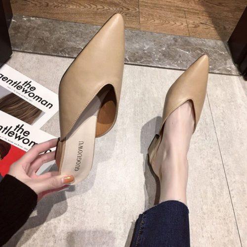 JSH685-apricot Sepatu Heels Casual Wanita Cantik Elegan 5CM