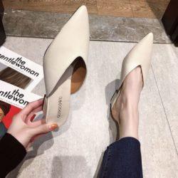 JSH685-beige Sepatu Heels Casual Wanita Cantik Elegan 5CM
