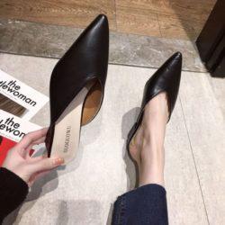JSH685-black Sepatu Heels Casual Wanita Cantik Elegan 5CM