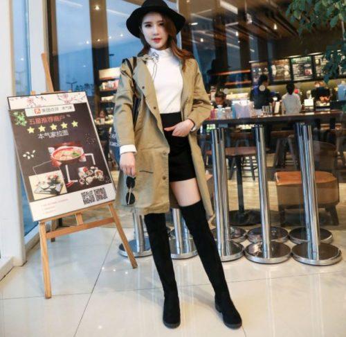 JSH688-black Sepatu Boots Lutut Import Wanita Cantik
