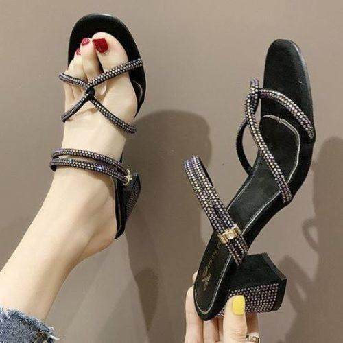 JSH688-black Sandal Heels Cantik Wanita Modis 6cm