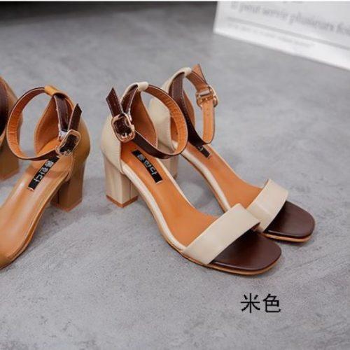 JSH709-beige Sepatu Heels Pesta Wanita Elegan 7CM