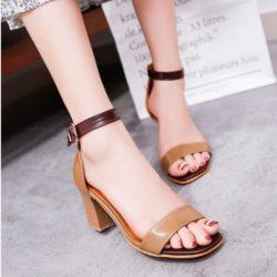 JSH709-brown Sepatu Heels Pesta Wanita Elegan 7CM