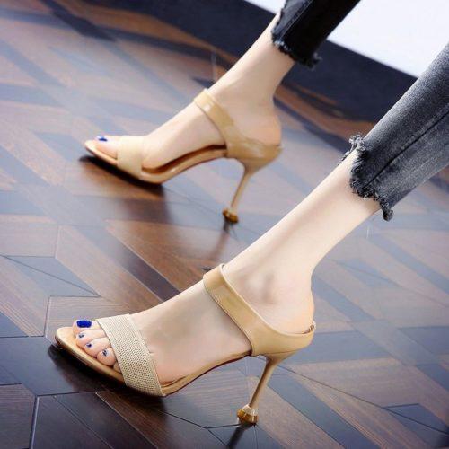 JSH831-apricot Sepatu Heels Wanita Elegan Import 8CM
