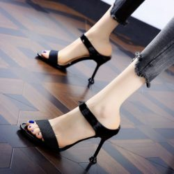 JSH831-black Sepatu Heels Wanita Elegan Import 8CM