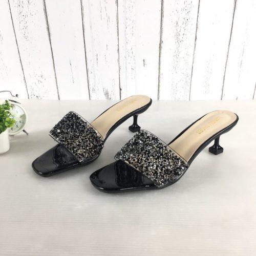 JSH851-black Sepatu Heels Pesta Fashion Wanita Cantik 5.5CM