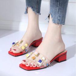 JSH852-red Sepatu Heels Blok Import Wanita Elegan 5CM
