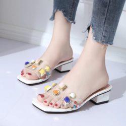JSH852-white Sepatu Heels Blok Import Wanita Elegan 5CM