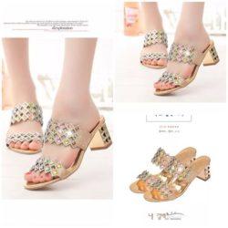 JSH8801-gold Sepatu Heels Blok Pesta Wanita Cantik 6CM