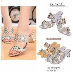 JSH8801-silver Sepatu Heels Blok Pesta Wanita Cantik 6CM