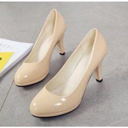 JSH88071-khaki Sepatu Heels Pump Fashion Import Wanita 8CM