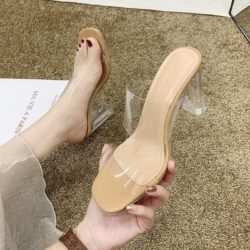 JSH900-khaki Sepatu Heels Blok Transparan Wanita Elegan 7CM
