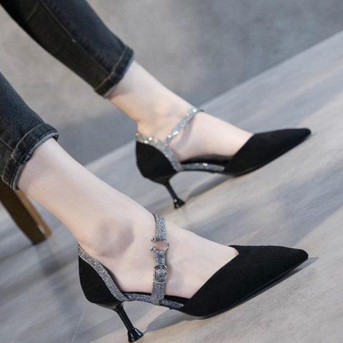 JSH905-black Sepatu Heels Bludru Wanita Elegan 5CM
