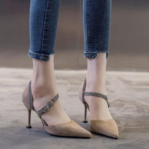 JSH905-khaki Sepatu Heels Bludru Wanita Elegan 5CM