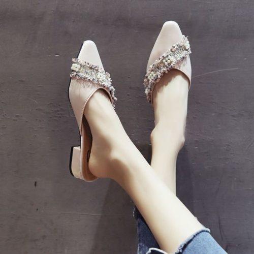 JSH906-pink Sepatu Sandal Flat Wanita Kekinian Terbaru