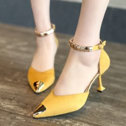 JSH913 IDR.145.000 MATERIAL VELVET HEEL 7.5CM COLOR YELLOW SIZE 35,36,37,38,39