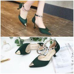 JSH913-green Sepatu Heels Cantik Elegan Import 7.5CM