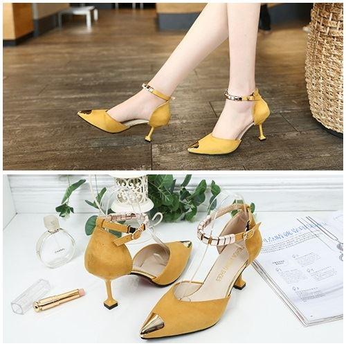 JSH913-yellow Sepatu Heels Cantik Elegan Import 7.5CM